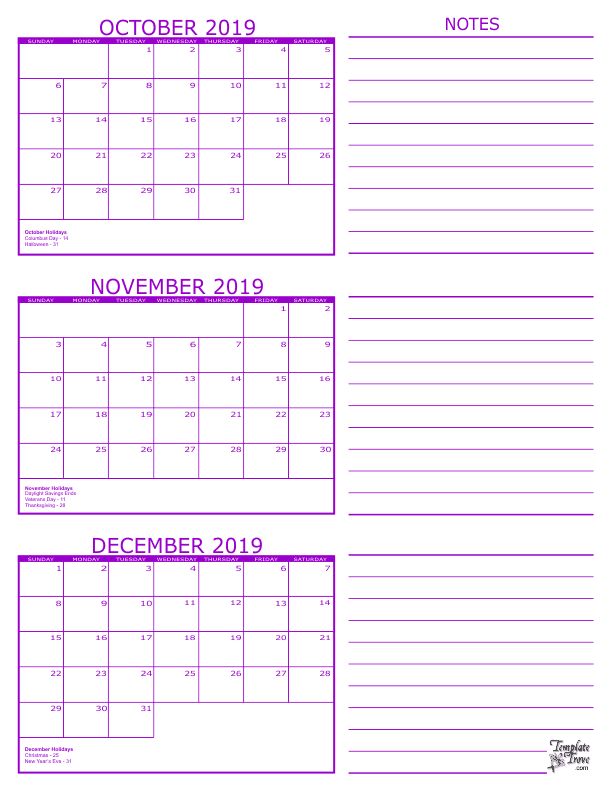3-Month-Calendar-2019-October-November-December-792 Quarterly Newsletter Calendar Template on cpa client, medical department, format for, army engineer, greeting examples,