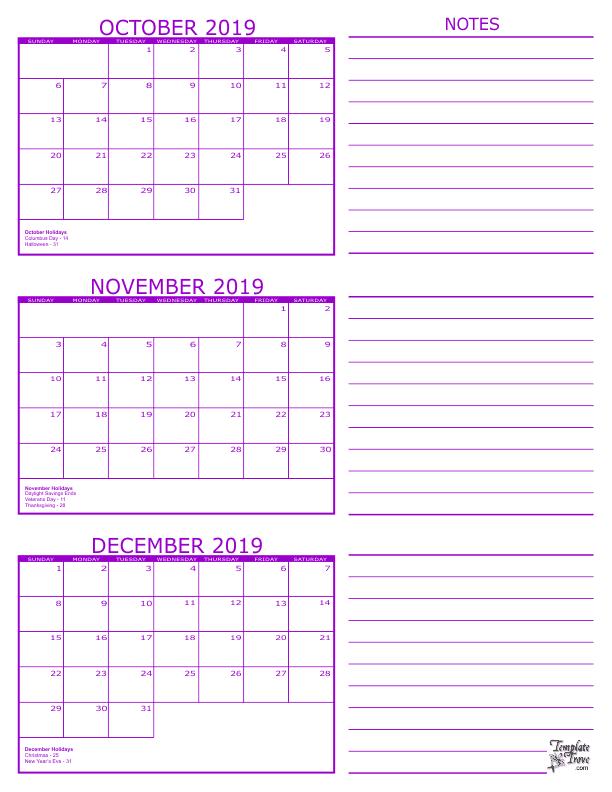 3 Month Calendar - 2019