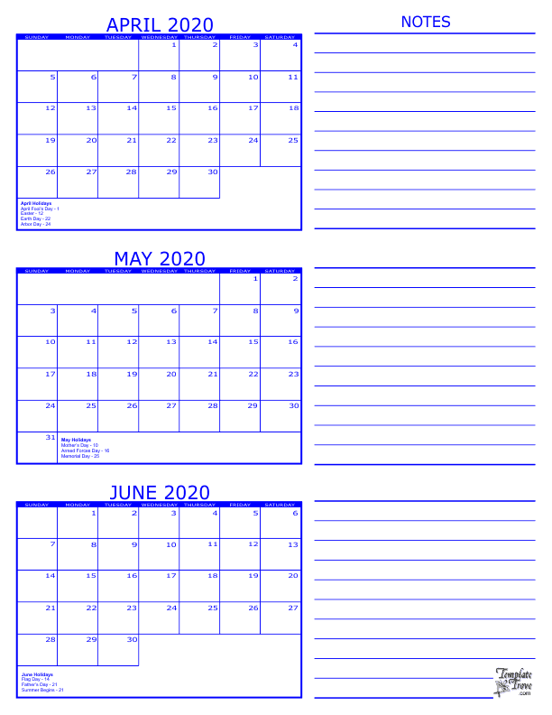 April May June 2020 Calendar 3 Month Calendar   2020