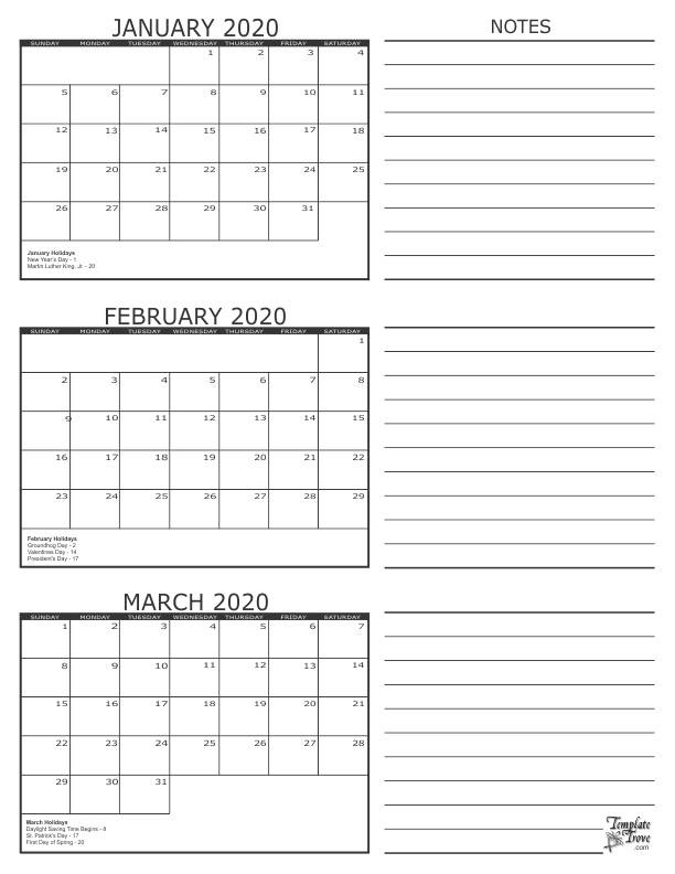January February March 2020 Calendar 3 Month Calendar   2020