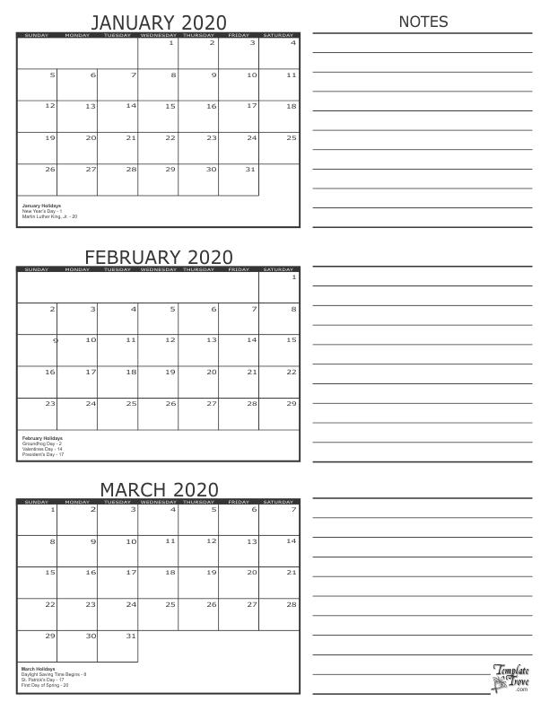 3 month calendar 2020