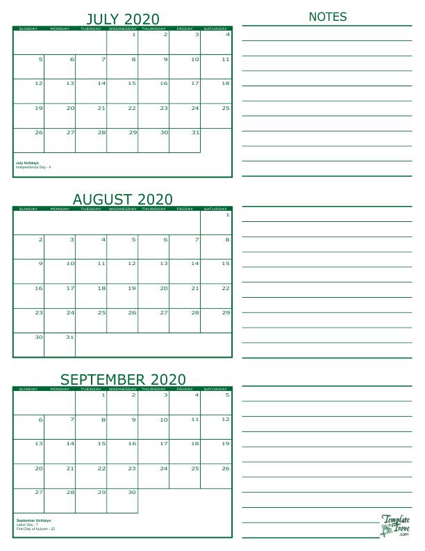 July Calendar 2020.3 Month Calendar 2020