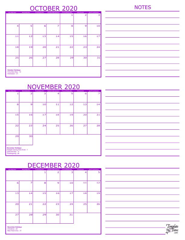 October November December 2020 Calendar 3 Month Calendar   2020