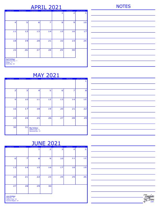 3 Month Calendar - 2021