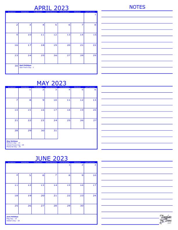 3 Month Calendar - 2023