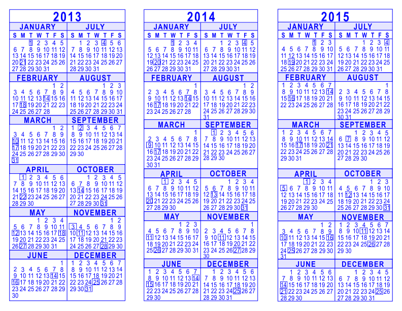 3 Year Calendar 2013 To 2015 Acurnamedia
