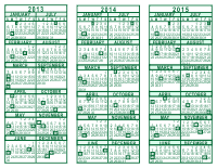 3 Year Calendar - 2013 through 2015