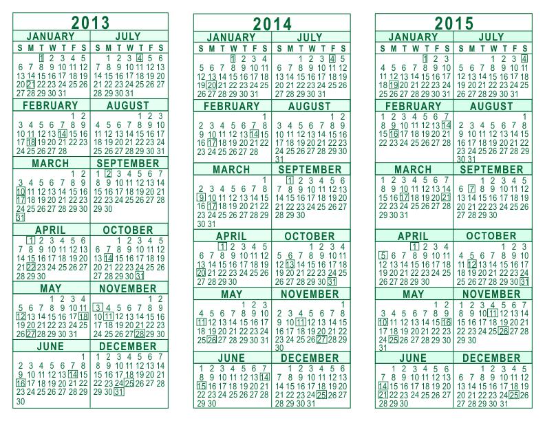 2013 2014 2015 3 Year Calendar