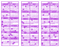 Purple 3 Year Calendar - 2013 - 2014 - 2015