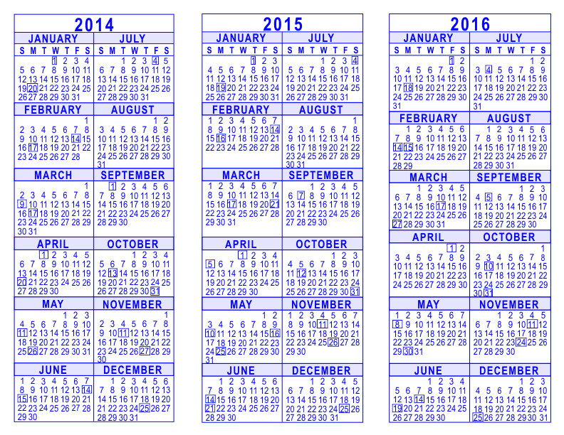 2014 2015 2016 3 year calendar