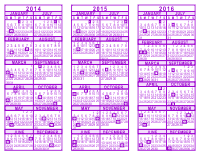 Purple 3 Year Calendar - 2014 - 2015 - 2016