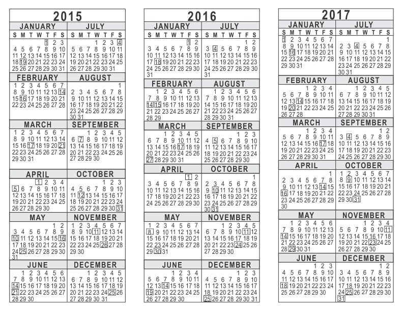 2015 2016 2017 3 Year Calendar – Sample 2015 Calendar