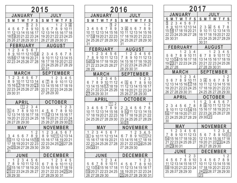2015 2016 2017 3 Year Calendar