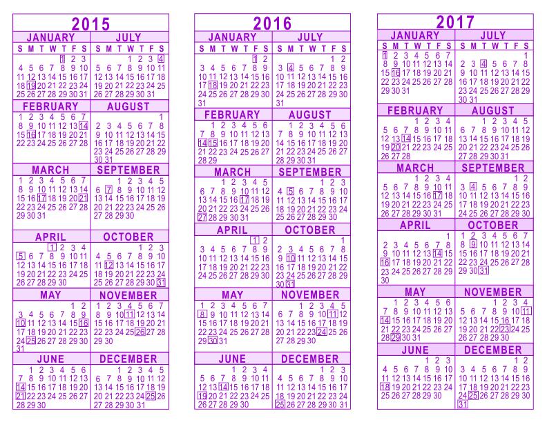 year calendar template 2015