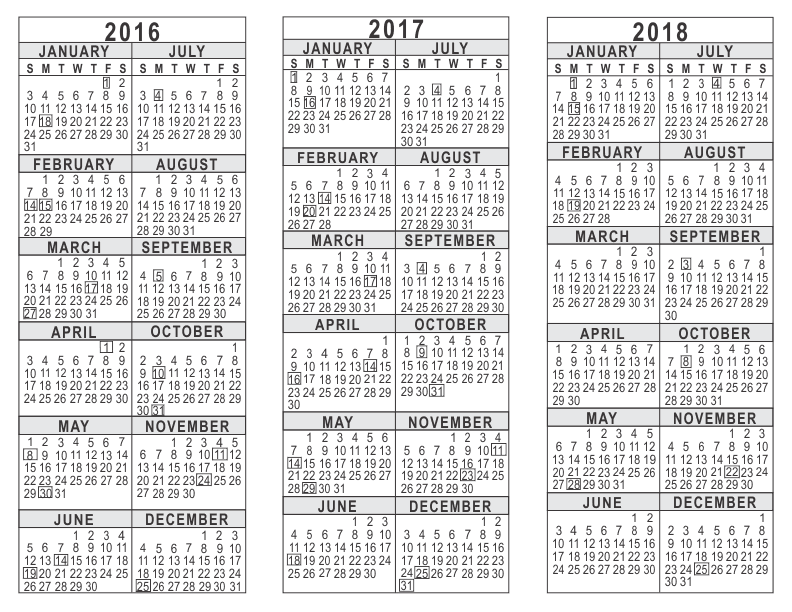 graphic relating to 3 Year Calendar Printable named 2016 2017 2018 3 Yr Calendar