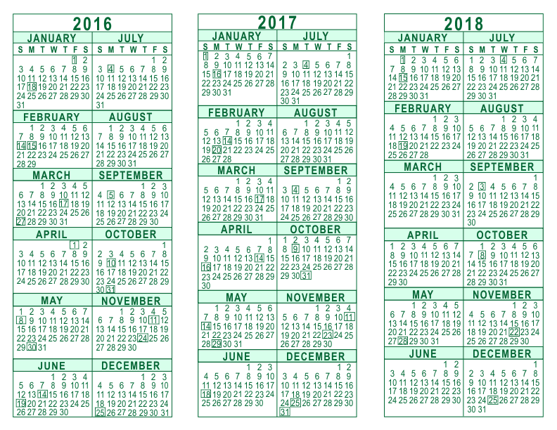printable yearly calendar 2018