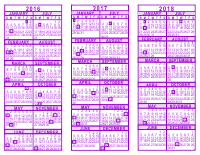 Purple 3 Year Calendar - 2016 - 2017 - 2018