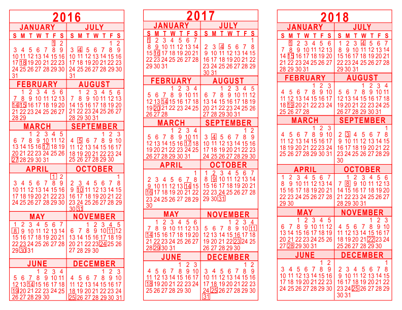 2016 2017 2018 3 year calendar