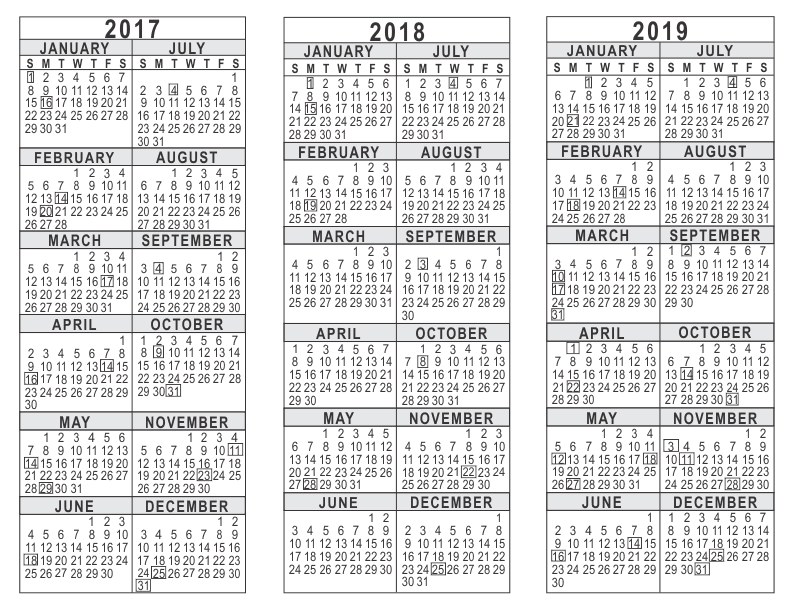 2018 calendar year at a glance akba greenw co