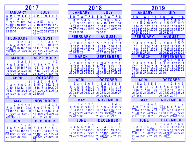 3-Year-Calendar-Template-2017-2018-2019-Blue-792  Page Newsletter With Social Media Templates Free on