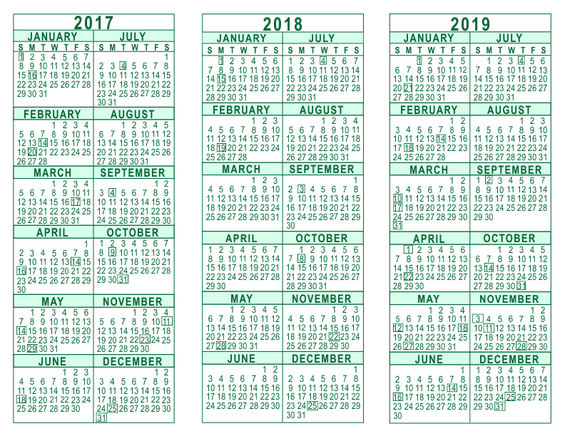 3 year calendar 2017 through 2019