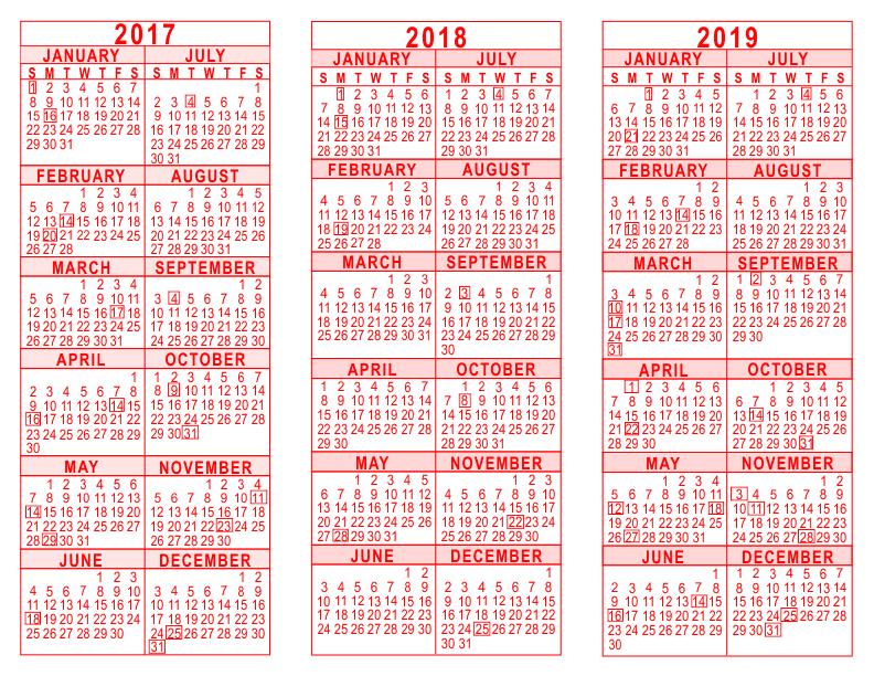 free printable yearly calendars 2018