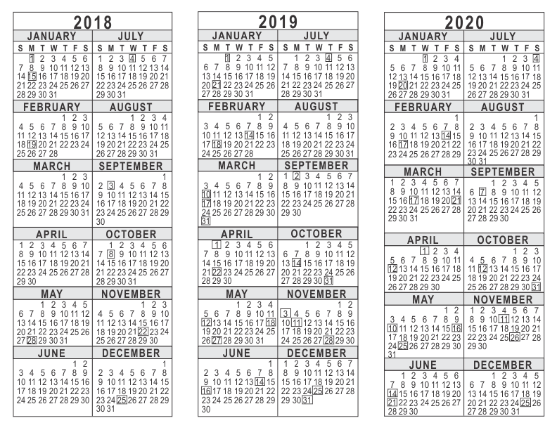 image regarding 3 Year Calendar Printable called 2018 2019 2020 3 Yr Calendar