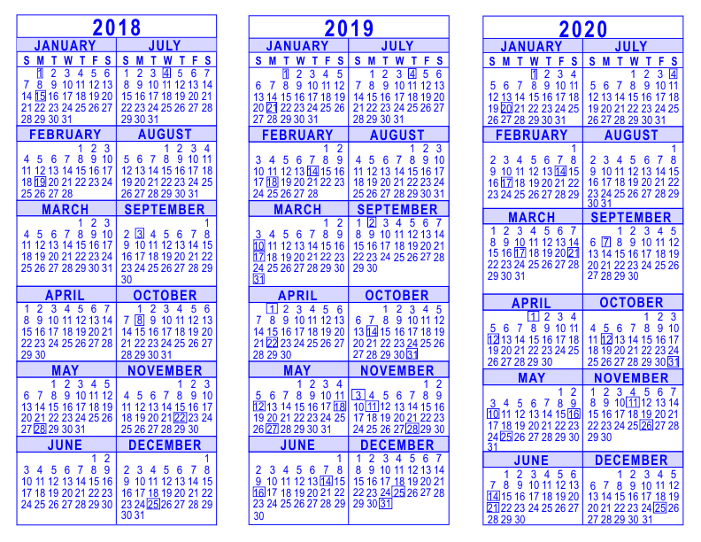 Calendar 2020 To 2018 2018 2019 2020 3 Year Calendar