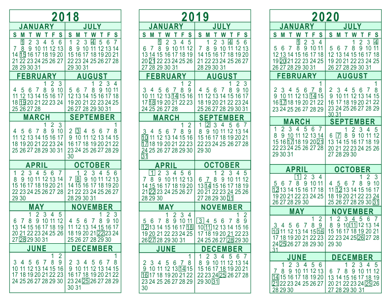 3 year calendar 2018 through 2020