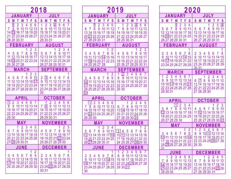free printable yearly calendars 2018