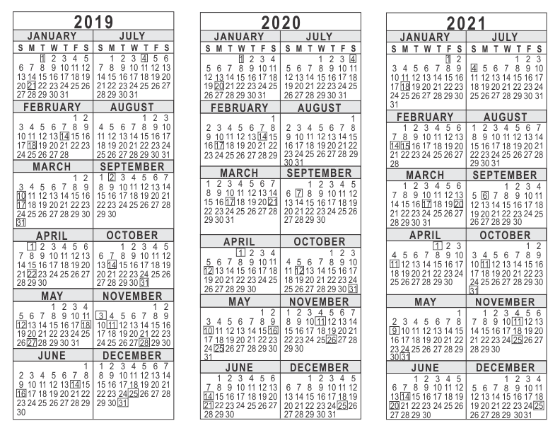 Yearly Calendar 2019 And 2021 2019 2020 2021 3 Year Calendar