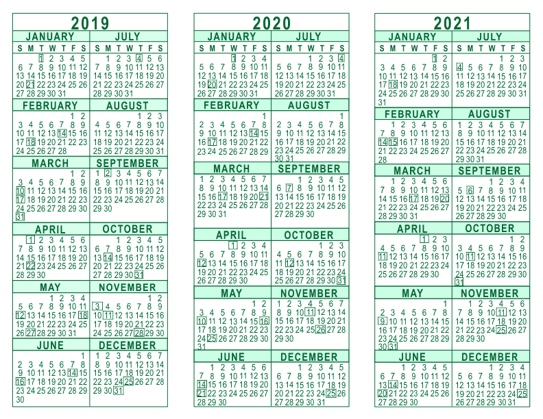 3 year calendar 2019 through 2021
