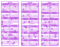 purple 3 year calendar 2019 2020 2021