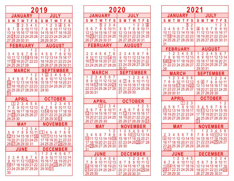 2019 20 21 3 year calendar red