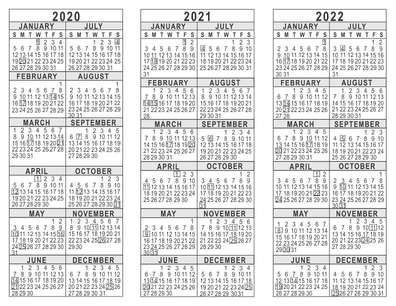 photograph about 3 Year Calendar Printable titled 2020 2021 2022 3 12 months Calendar