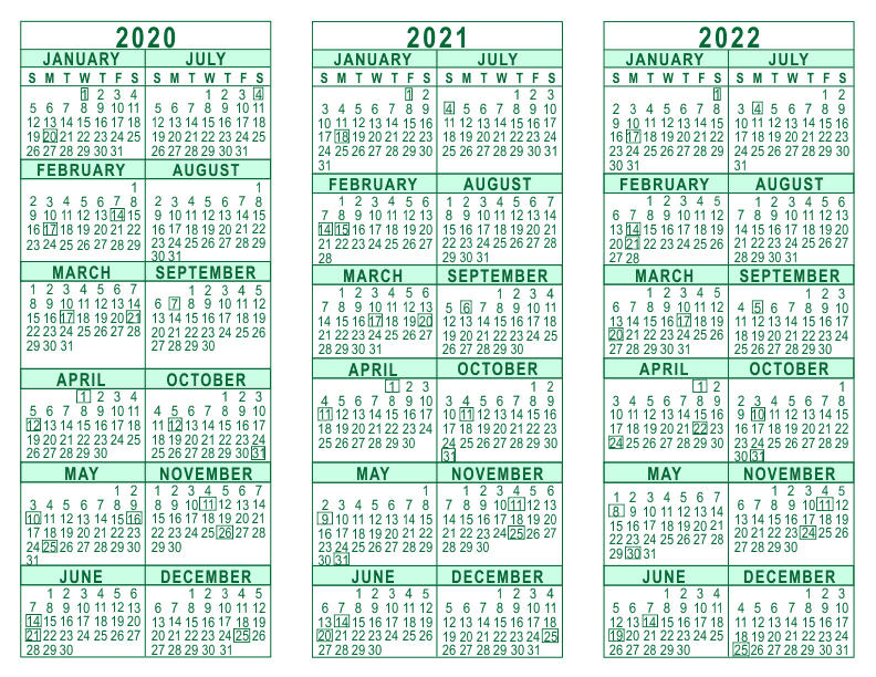Calendar Year 2020.2020 2021 2022 3 Year Calendar