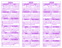 Purple 3 Year Calendar - 2024 - 2025 - 2026