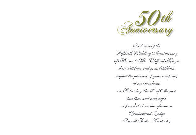50th Anniversary Invitation Folded Card