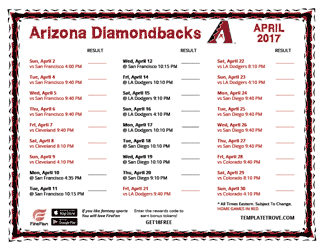 April 2017 Arizona Diamondbacks Printable Schedule