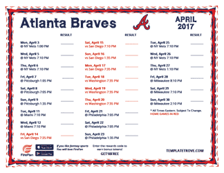 April 2017 Atlanta Braves Printable Schedule