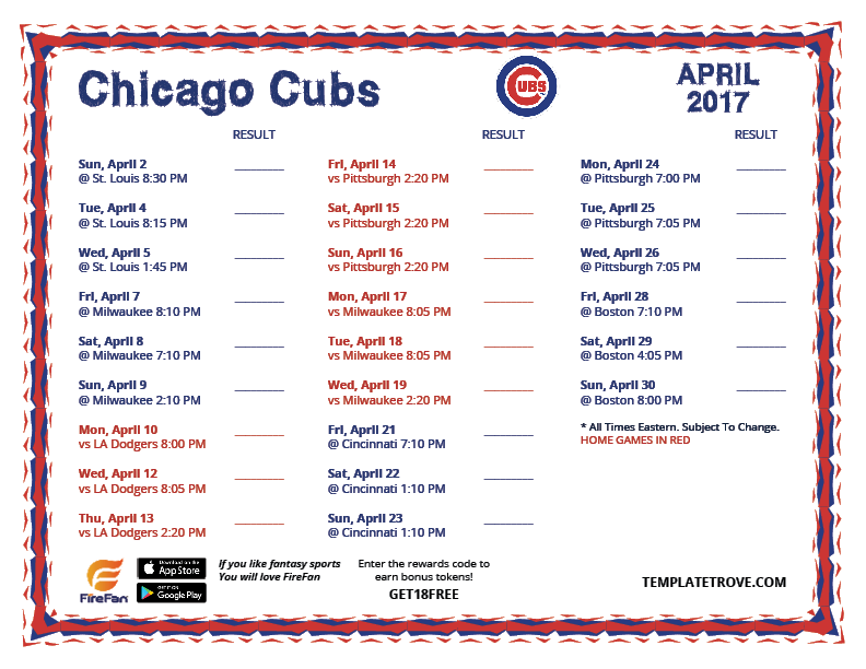 This is a picture of Gargantuan Cubs Schedule Printable