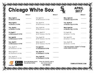 April 2017 Chicago White Sox Printable Schedule