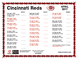 April 2017 Cincinnati Reds Printable Schedule