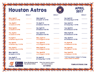 April 2017 Houston Astros Printable Schedule