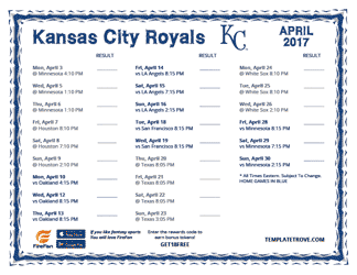 April 2017 Kansas City Royals Printable Schedule
