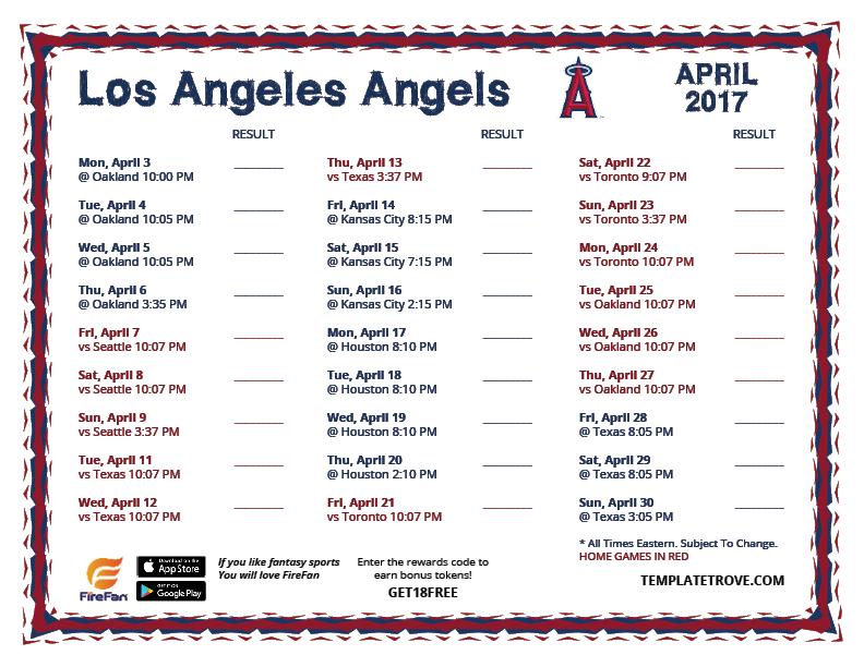 printable 2017 los angeles angels schedule