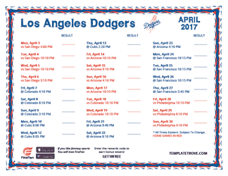 April 2017 Los Angeles Dodgers Printable Schedule