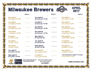 April 2017 Milwaukee Brewers Printable Schedule