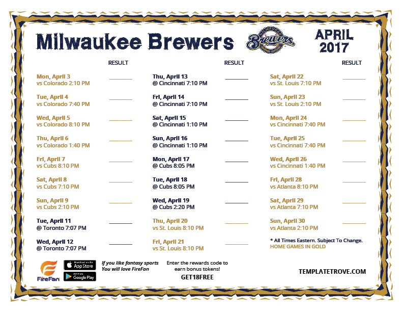 image regarding Printable Brewers Schedule named Printable 2017 Milwaukee Brewers Timetable