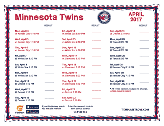 April 2017 Minnesota Twins Printable Schedule